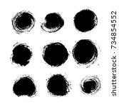 vector set of grunge circle... | Shutterstock .eps vector #734854552