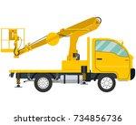 isolated modern truck mounted... | Shutterstock .eps vector #734856736