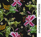 embroidery orchid exotic... | Shutterstock .eps vector #734858086