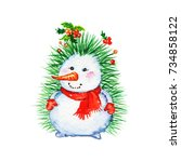 Watercolor Christmas Snowman....