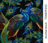 embroidery peacocks seamless... | Shutterstock .eps vector #734859352