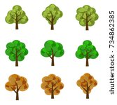 set of seasoned trees. flat... | Shutterstock .eps vector #734862385