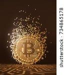 virtual coin bitcoin emits... | Shutterstock . vector #734865178