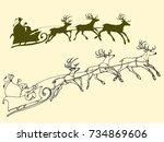 santa's sleigh of deers ... | Shutterstock .eps vector #734869606