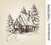 winter cabin exterior. pine... | Shutterstock .eps vector #734870098