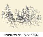 winter landscape  mountains view | Shutterstock .eps vector #734870332