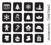 christmas icons. grunge black... | Shutterstock .eps vector #734870662