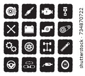 car parts icons. grunge black... | Shutterstock .eps vector #734870722