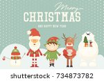 merry christmas greeting card   ... | Shutterstock .eps vector #734873782