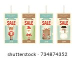 christmas sale tags in with... | Shutterstock .eps vector #734874352