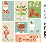 merry christmas posters set  ... | Shutterstock .eps vector #734874376