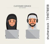 customer service of arab man... | Shutterstock .eps vector #734878858