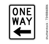 vector one way sign icon  left... | Shutterstock .eps vector #734886886