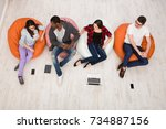 multiethnic young people ... | Shutterstock . vector #734887156