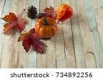 Fall Scene  Three Red Orange...