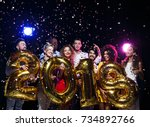 office christmas party. group... | Shutterstock . vector #734892766