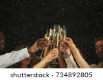 christmas party time. young... | Shutterstock . vector #734892805