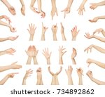 white man hands showing symbols ... | Shutterstock . vector #734892862