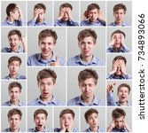 mosaic of young man expressing... | Shutterstock . vector #734893066