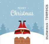 santa claus stuck in chimney... | Shutterstock .eps vector #734893426