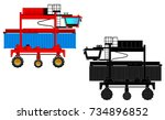large container loader and... | Shutterstock .eps vector #734896852