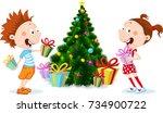 children under the christmas... | Shutterstock .eps vector #734900722