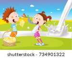 boy and girl hold cheese and... | Shutterstock .eps vector #734901322