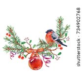 christmas wreath with birds.... | Shutterstock . vector #734902768
