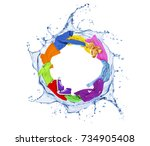Colored Clothes Rotates In A...