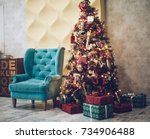 christmas and new year... | Shutterstock . vector #734906488