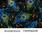 embroidery peacock feathers... | Shutterstock .eps vector #734906698
