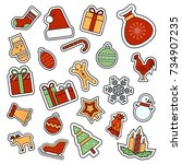 christmas and new year... | Shutterstock . vector #734907235