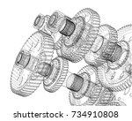 gearbox sketch. vector... | Shutterstock .eps vector #734910808