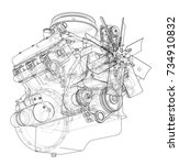 engine sketch. vector rendering ... | Shutterstock .eps vector #734910832