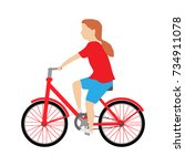 girl on bike. vector... | Shutterstock .eps vector #734911078