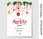 luxury decoration with fir and... | Shutterstock .eps vector #734911405
