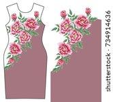 pink peonies print design for... | Shutterstock .eps vector #734914636