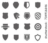guard shield icon set. safety ... | Shutterstock .eps vector #734916646