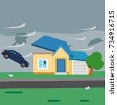 hurricane. strong wind blows...   Shutterstock .eps vector #734916715