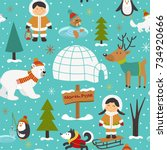 seamless pattern with eskimos... | Shutterstock .eps vector #734920666