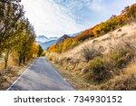 autumn's road   Shutterstock . vector #734930152