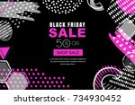 black friday sale vector banner ... | Shutterstock .eps vector #734930452