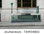 entrance to a new york city... | Shutterstock . vector #734934802