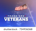 thank you veteran's text with... | Shutterstock . vector #734936368