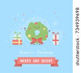 merry christmas card with cute... | Shutterstock .eps vector #734939698