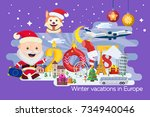 new year and winter travel... | Shutterstock .eps vector #734940046