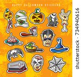 happy halloween stickers. funny ... | Shutterstock .eps vector #734940616