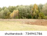 autumn landscape. dark clouds... | Shutterstock . vector #734941786