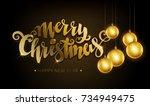 merry christmas golden text.... | Shutterstock .eps vector #734949475