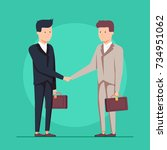 business partnership handshake... | Shutterstock . vector #734951062